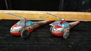 2x Vintage/antique Tinfrictionjapan Rescuetoy Helicopterh-56/as Found