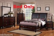 Modern 1pcs California King Size Bed Bedroom Dark Wood Finish Black Faux Leather