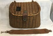 Vintage Japanese Split Willow Fishing Creel Leather Fish Latch Canvas Harness