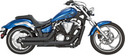 Vance And Hines Twin Slash Staggered Exhaust For Yamaha Xvs1300c - Black - 48501