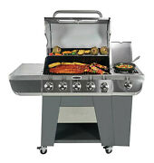 5 Burner Propane Gas Grill 3 In 1 Smoker Bbq Outdoor Cooking Large Portable
