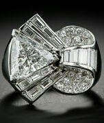 Reproduction Ring Vintage Style Art Deco Baguette 925 Sterling Silver Jewelry
