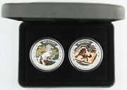 Tuvalu 2014 Good Fortune Lunar Horse 2 Silver Coin Proof Colorized Set +box Andcoa