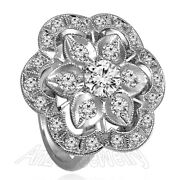 14k Solid White Gold Genuine Diamond Russian Style Ring R2018