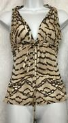 Roberto Cavalli Top Brown And Tan Print Sleeveless Stretch Front Tie Size S