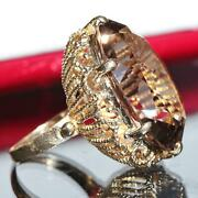 1900and039s Antique 14k Yellow Gold Ring 26.20ct Smoky Quartz Size 4.5 Handmade 12.5g