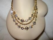 Coach Gold Plated Palladium Necklace Crystal 3- Strand Bib Cluster Signed Bride