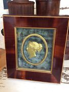 19th Century Gilt Metal Silouhette Picture Of A Young Queen Victoria