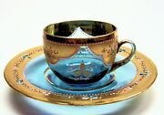 Demitasse Cups And Saucers Moser Art Glass From Russia1800and039s