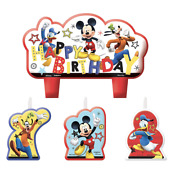 Disney Mickey Mouse Candle Set Birthday Party Decoration Supplies Cake Topper