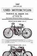 1907 Harry R. Greer Used Motorcycles - Two-sided Poster