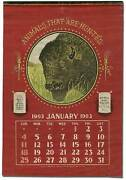 Calendar On Linen Animals That Are Hunted / First Edition 1903