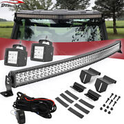 50and039and039 Curved Led Bar+upper Roof Pro-fit Bracket+24w Aux Lights For Polaris Ranger