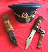 Russian Ak Bayonet Converted To A Knife And Russian Cap - Purchased In Estonia