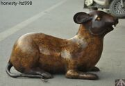 28china Fengshui Bronze 12 Zodiac Year Auspicious Lucky Animal Mouse Rat Statue