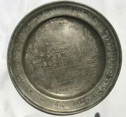 Pewter Passover Plate Antiques Judaica Hebrew Wailing Wall Israel Jewish Art