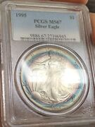 C5231- 1995 Silver American Eagle Pcgs Ms67 Target Rainbow Toned