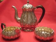 Lovely Quality,1860-1870 Solid Silver,indian Kashmiri 3 Piece Tea Set.stunning.