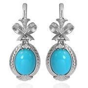 14k Solid White Gold Genuine Diamond And Turquoise Russian Style Earrings E1423