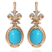 14k Solid Rose Gold Genuine Diamond And Turquoise Russian Style Earrings E1425