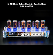 Nixie Tubes Clock On In-18 In Big Acrylic Case [with Columns] Slot Machine Temp