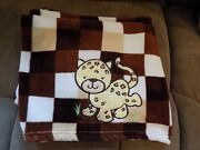 Adorable Cheetah Brown Tan White Patchwork Security Blanket Lovey Cat Euc