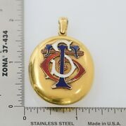 Victorian 15k Yellow Gold Large Oval Locket With Enamel And Engraved