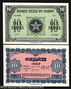 Morocco 10 Francs P25 1944 France 5 Pointed Star Unc Money Bill African Banknote