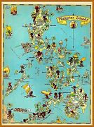 1940s Map Of The The Philippines Vintage Travel Wall Decor Art Poster Print