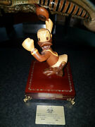Extremely Rare Walt Disney Donald Duck Happy Wooden Figurine Le Of 1200 Statue