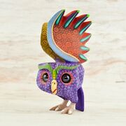 Magia Mexica A1792 Owl Alebrije Oaxacan Wood Carving Painting Handcrafted