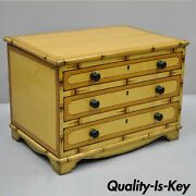 Antique Yellow Painted Cottage Primitive Folk Art Small Trunk Faux Spool Cabinet