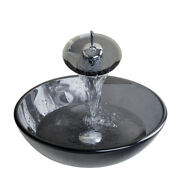 Us Artistic Tempered Glass Vessel Vanity Hand Painting Color Sink Bowl And Faucet