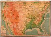L Philip Denoyer / Color Lithographic Map Physical-political United States 1944