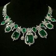 Green Cushion Vintage Style Statement Necklace 100 Ct Solid 925 Sterling Silver