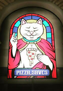 Giant Pizza Saves / Pizza Kills Cat Wall Murals 7.5and039x5and039 Art Decor On Coroplast