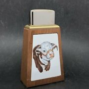 Roseart Tall Wood Table Lighter - Brown And White Angus Bull - Ceramic Tile
