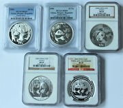 Early Year China Silver Panda 5 Coin Set Ngc And Pcgs All Ms69 2005-2009 S10y 1ozandnbsp
