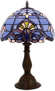 Blue Purple Baroque Style Table Lamp Stained Glass Lampshade Antique