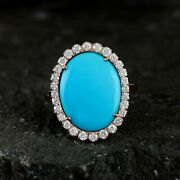 Solid 14k Rose Gold Natural 5.18ct Turquoise Gemstone Pave Diamond Cocktail Ring