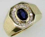 Wide 1.42ct Diamond And Aaa Sapphire 14kt Yellow Gold 3d Channel Octagon Mens Ring