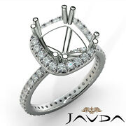 Diamond Engagement Halo French Cut Eternity Ring Cushion Semi Mount 0.75ct. Tw.