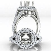 Round Semi Mount French V Cut Double Halo Pave Diamond Engagement Ring 1.30ct