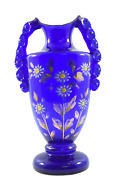 Decorative Antique Beautiful Blue Glass Gold Work Vase Collectible. G16-117