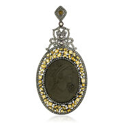Diamond Gold 925 Sterling Silver Vintage Look Citrine Pendant Carving Jewelry