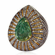 6.5ct Carved Emerald Diamond 925 Sterling Silver Cocktail Ring Fashion Jewelry