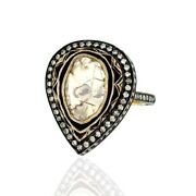 Natural Diamond 14k Gold Sterling Silver Pear Shape Ring Vintage Style Jewelry