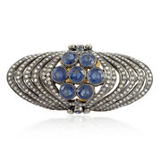 4.70 Ct Blue Sapphire Gold 925 Sterling Silver Pave Diamond Knuckle Ring Jewelry