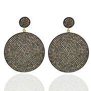 Natural Pave Diamond Round Shaped Dangle Earrings Gold Silver Vintage Jewelry