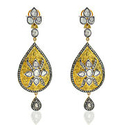 14kt Solid Yellow Gold 4.5ct Diamond 925 Sterling Silver Dangle Earrings Jewelry
